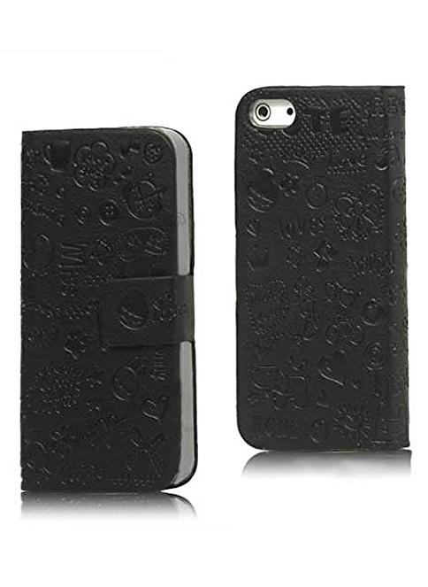 Microsonic iPhone  5 & 5S Mini Figürlü Deri Kılıf Siyah Renkli